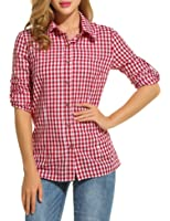 Zeagoo Women's V-Neck Long Sleeve Loose Casual Button Down Plaids Shirt Blouses