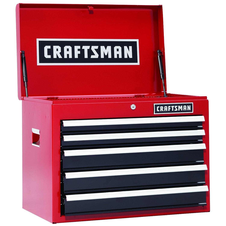 Craftsman 26 In。5-drawer丈夫なボール軸受Top Chest (レッド/ブラック) B077C1GCFN