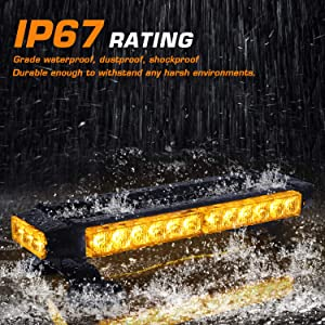 Linkitom LED Strobe Flashing Light Bar -Double Side Amber 30 LED High Intensity Emergency Hazard Warning Lighting Bar/Beacon/with Magnetic and 16 ft Straight Cord for Car Trailer Roof Safety (Color: Amber)