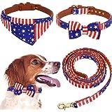 3 Pieces American Flag Dog Collar and Leash Set Independence Day Dog Bowtie Collar Patriotic Dog Collar Bandana USA Flag Dog