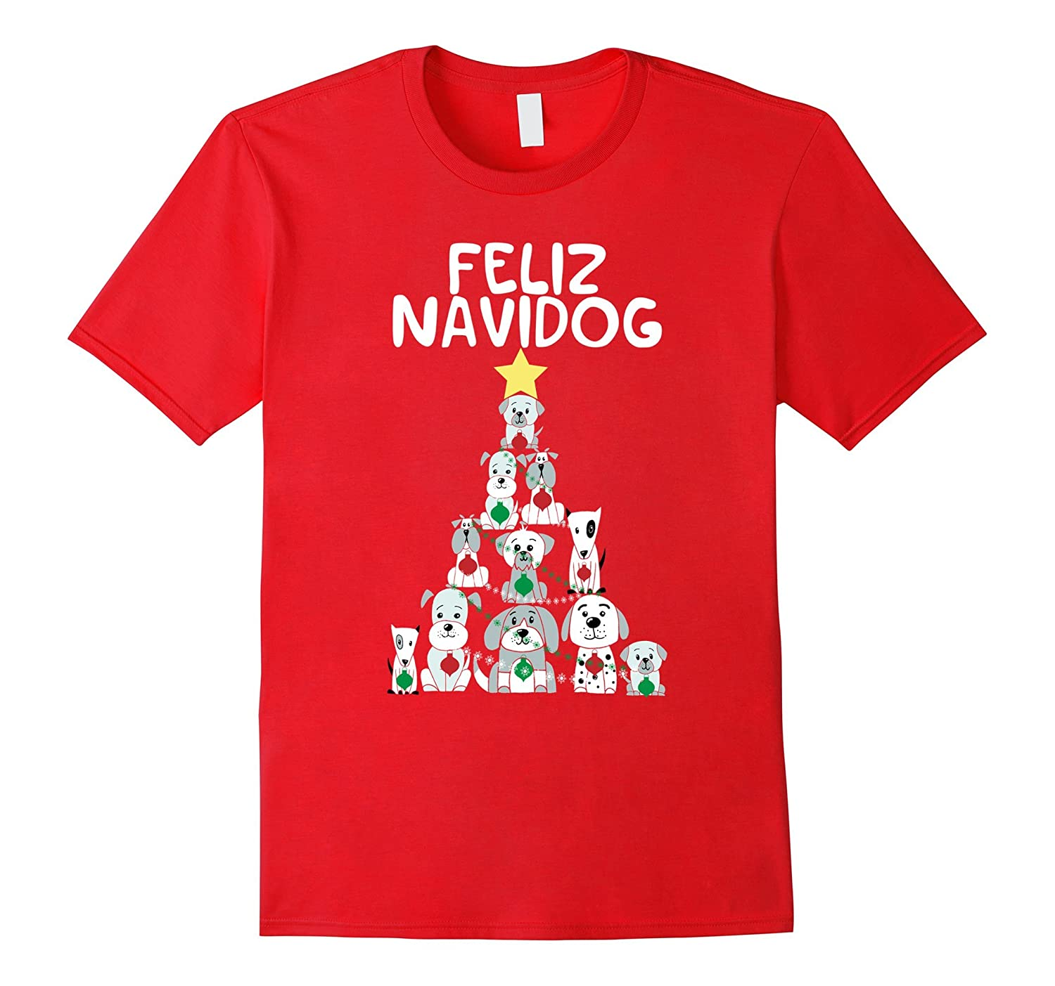 Feliz Navidog Christmas Dog T-Shirt, Funny Cute Xmas Tree-FL