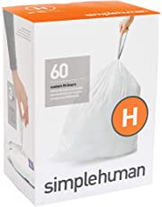simplehuman Code H Custom Fit Liners, Drawstring Trash Bags, 30-35 Liter / 8-9 Gallon, 3 Refill Packs (60 Count)