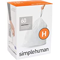 simplehuman Code H, Custom Fit Bin Liners, 60 Liners, White, 30-35 L