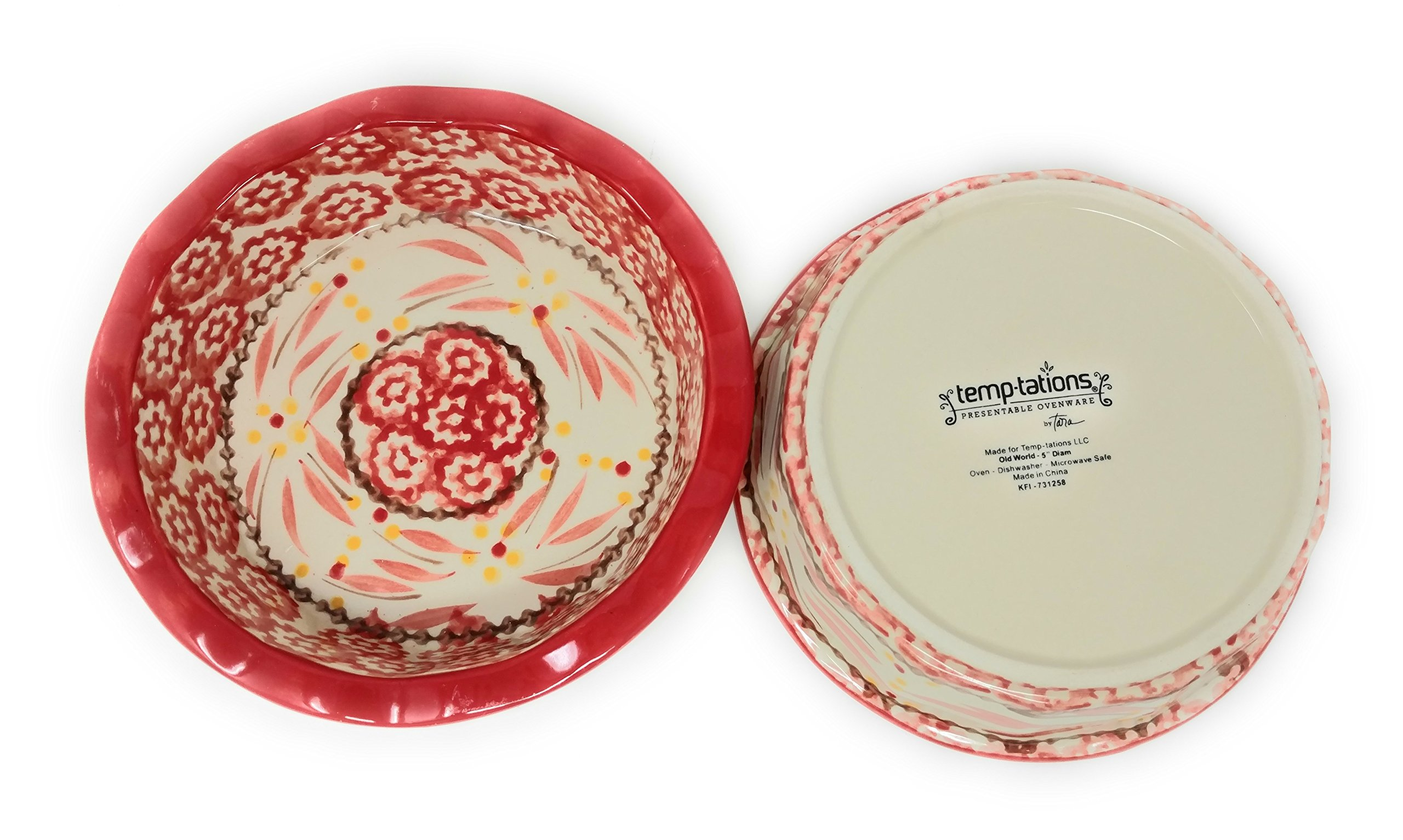 Temp-tations Set of 2 Mini Pie Pans, Deep Dish 5.75'' x 1.75'' each - Stoneware (Old World Red) by Temptations (Image #5)