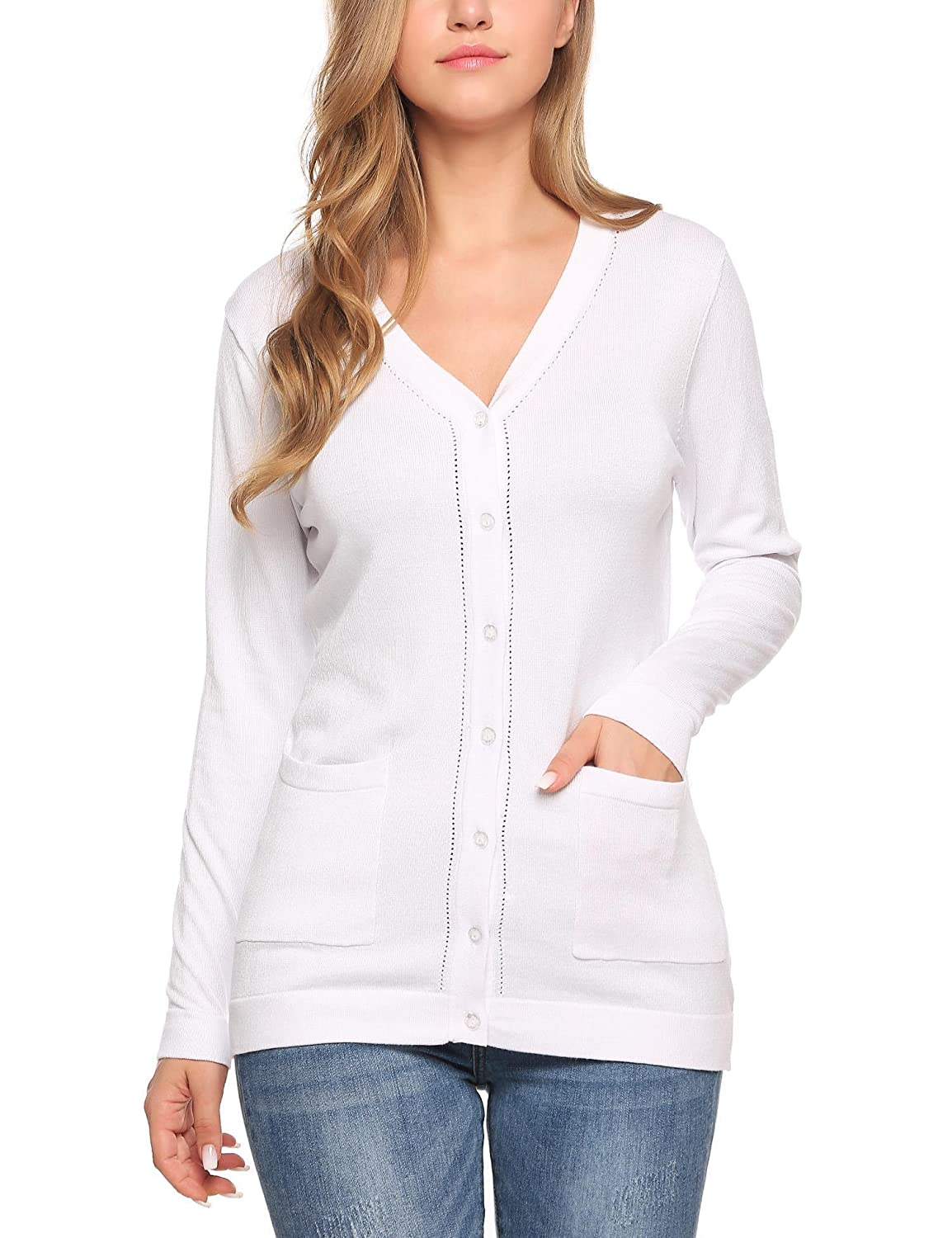 e96a86211c Meaneor Womens V Neck Button Down Long Sleeve Basic Soft Knit Cardigan  Sweater  MAH007454