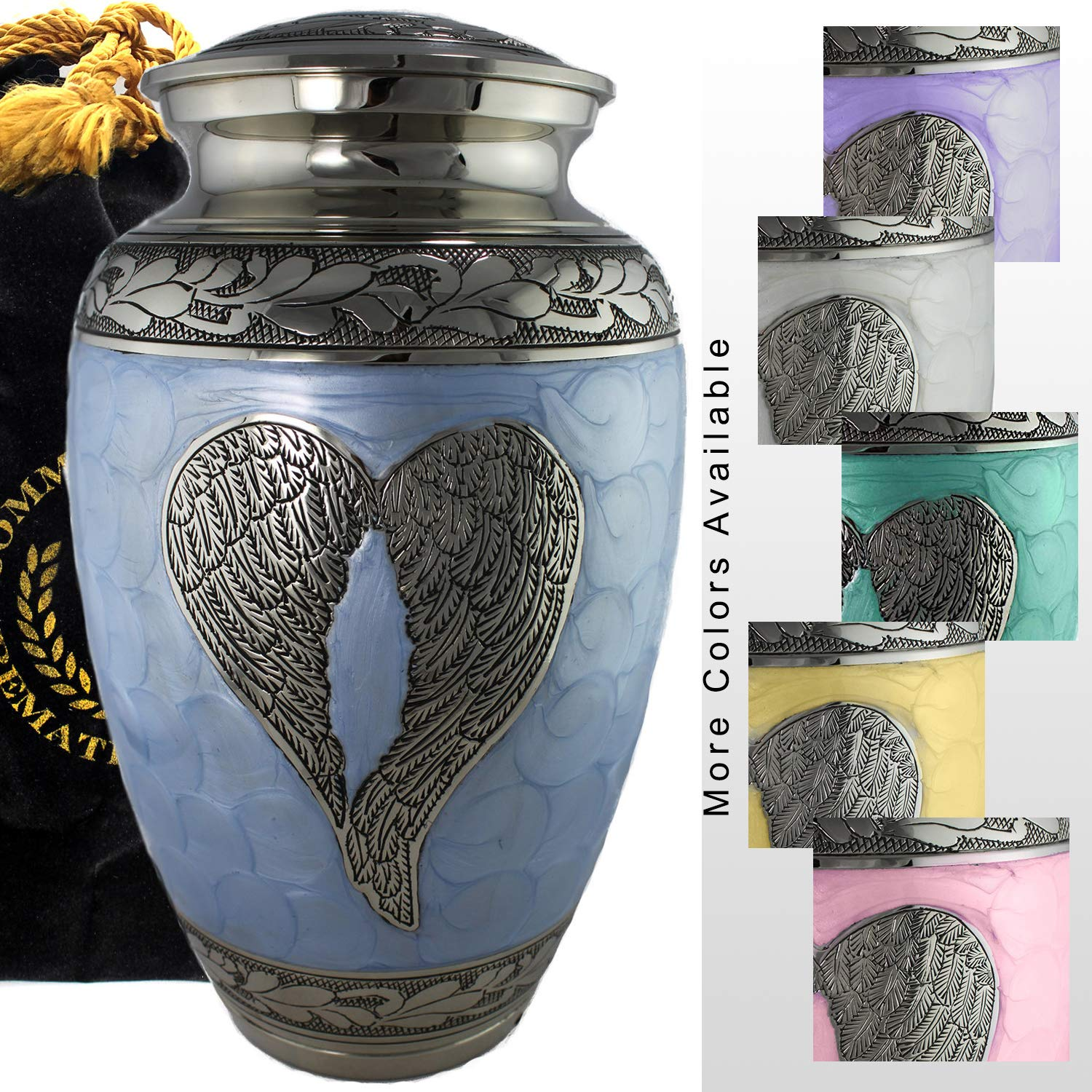 Mint Loving Angel Wings - Funeral, Burial, Niche or Columbarium Cremation Urn for Human Ashes - 100% Brass - Mint Keepsake Set of 4 Esca di Luce Imports