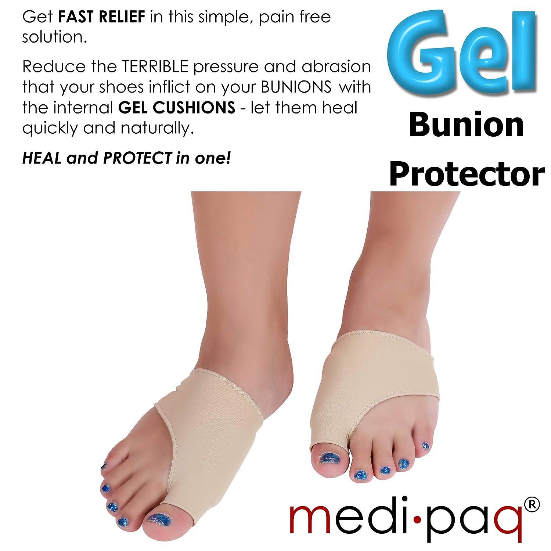 Medipaq Gel Big Toe Protector de juanetes - Obtén alivio del dolor de juanetes, ampollas, gota o artritis para un paseo más cómodo (1 x soporte mediano): ...