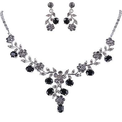 TENYE Women's Austrian Crystal Enamel Party Flower Cluster Drop Necklace Earrings Set Kve1qnf