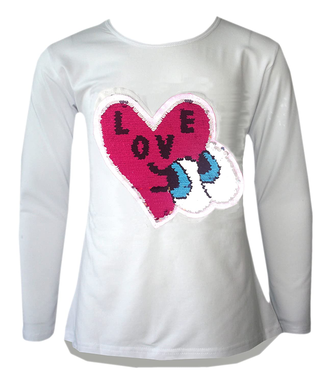 KIDS GIRLS CHANGING SEQUIN SIZES HEART BUTTERFLY TOPS BRUSH LOVE CONE POM POM