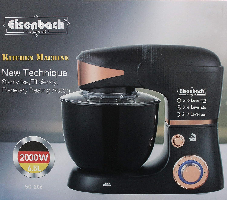 Eisenbach Máquina de amasar con luz LED de 2000 W, 6, 5 litros, para amasar y Mezclar Alimentos de plástico SC-2066 AConlineshop: Amazon.es