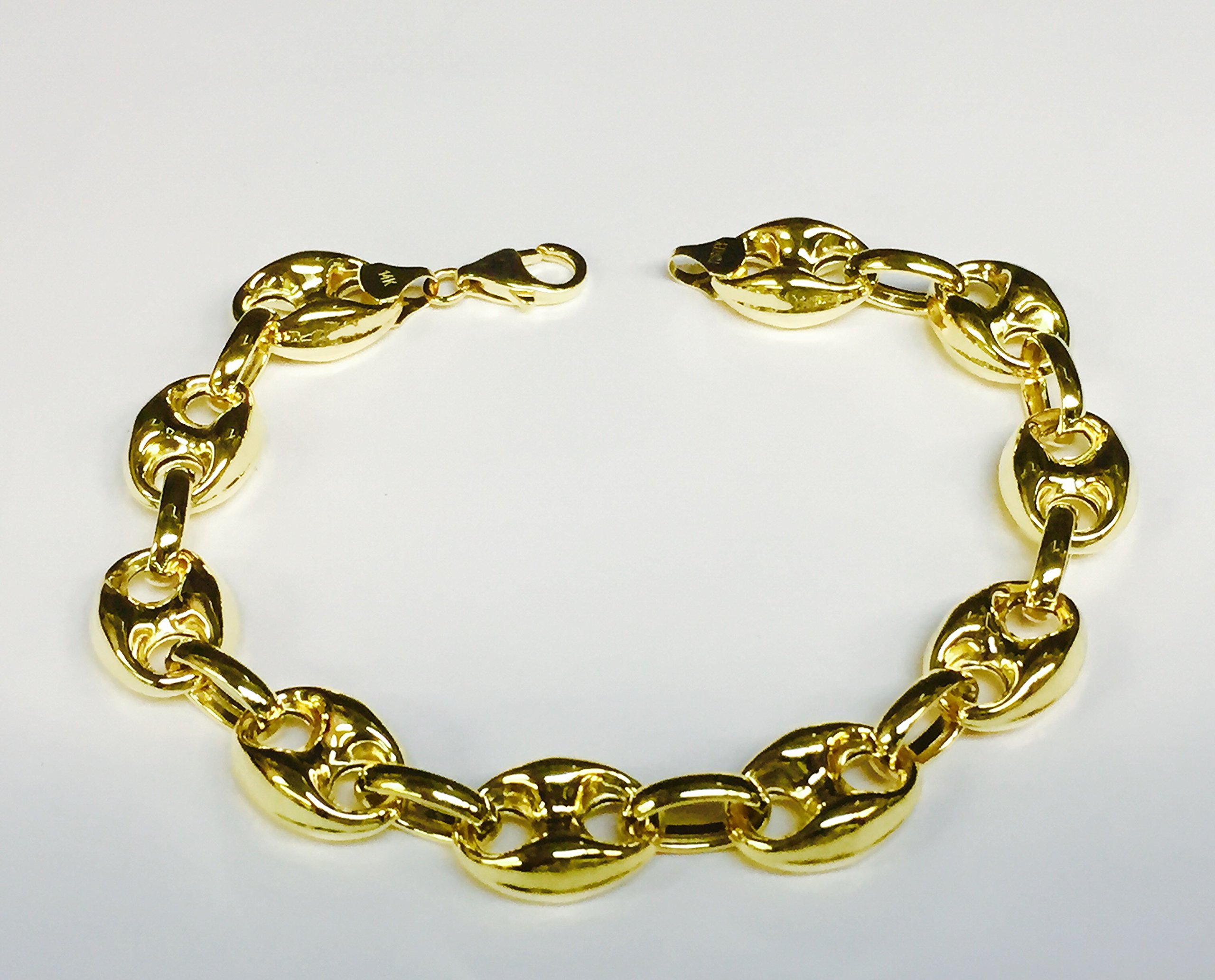 14k Yellow Gold Puffed Anchor Mariner 7.5'' link bracelet 11 MM 9 grams by TEX (Image #3)