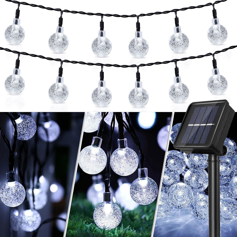 Solar String Lights, 50 LED Crystal Globe Solar String Lights Outdoor Waterproof Solar Lights with 8 Modes Solar Powered Patio Lights for Garden Yard Home Party Wedding Christmas Decor (Cool White)
