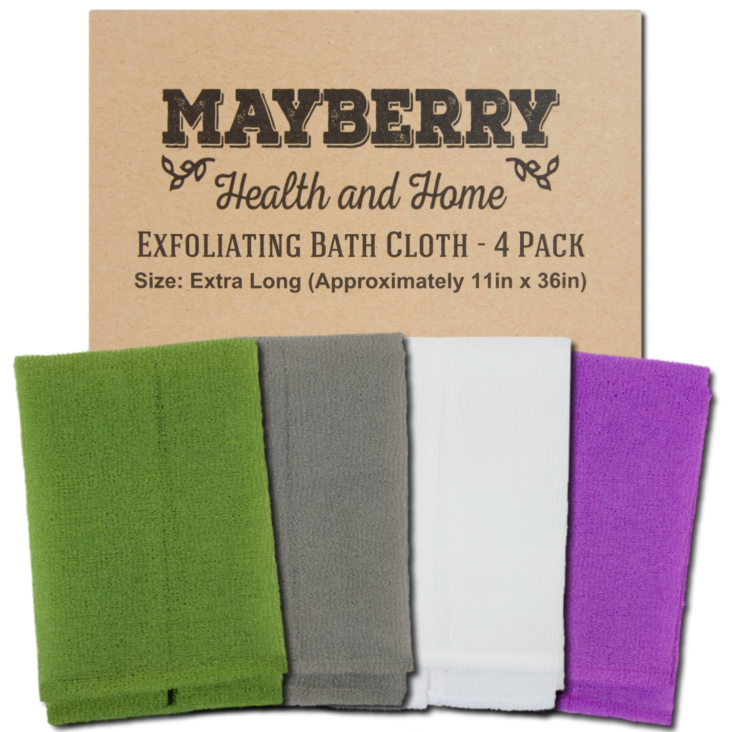Extra Long (36 Inches) Exfoliating Bath Cloth/Towel (4 Pack) Gray, White, Green, and Lavender Nylon Bath Cloth/Towel, Stitching on All Sides for Added Durability Mayberry Health and Home