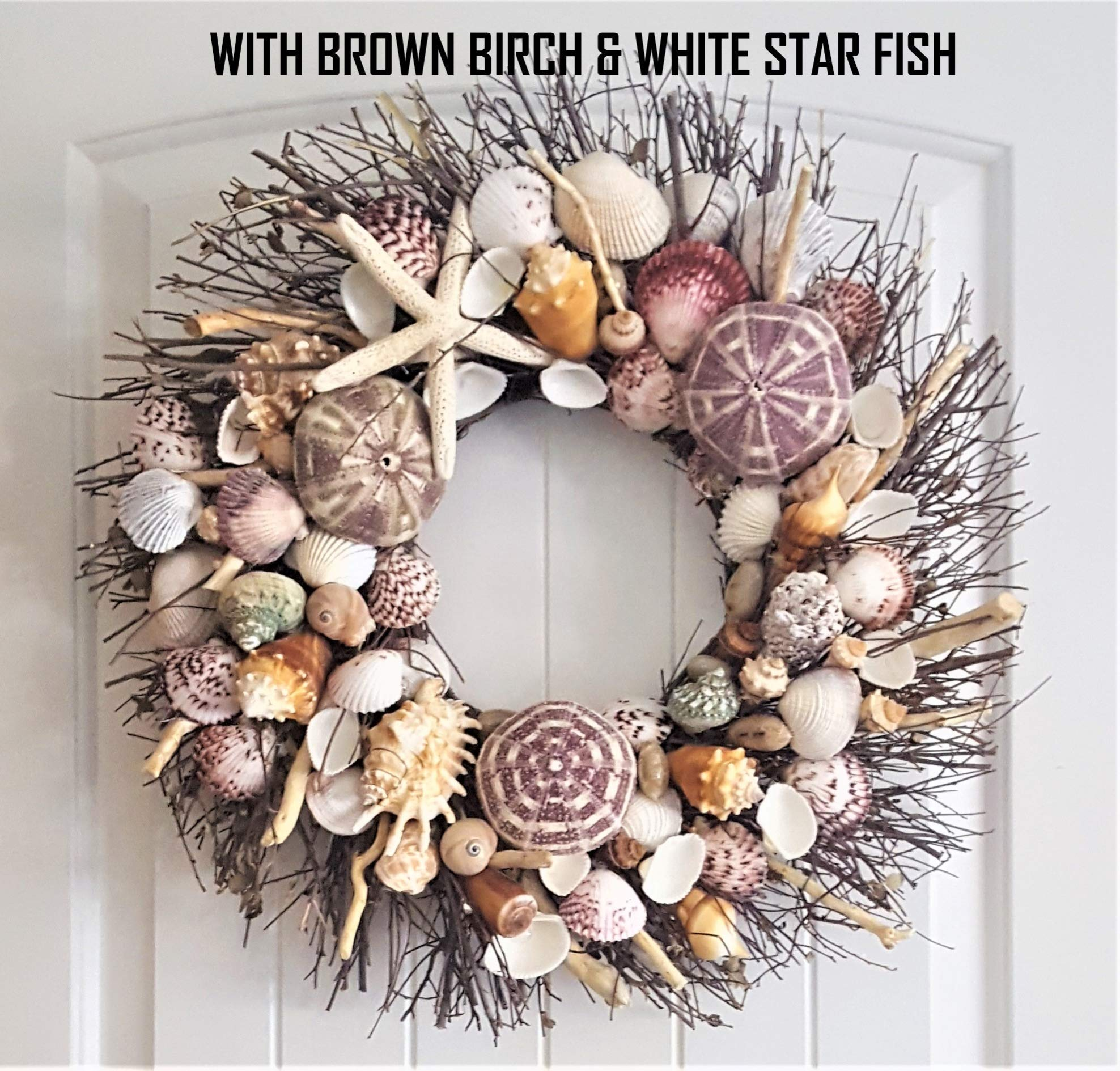 21'' Sea Shell Wreath on Birch Twig with Exotic Sea Urchins in 4 Designs