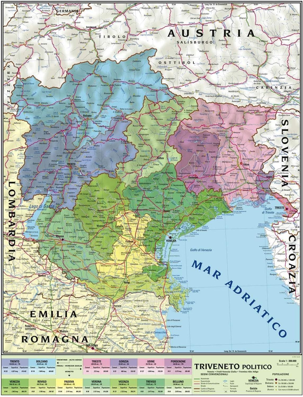 Cartina Italia Politica Veneto.Carta Geografica Murale Regionale Triveneto 100x140 Bifacciale Fisica E Politica Amazon It Cancelleria E Prodotti Per Ufficio