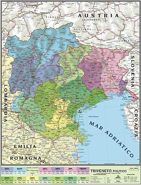 Cartina Fisico Politica Veneto.Carta Geografica Murale Regionale Triveneto 100x140 Bifacciale Fisica E Politica Amazon It Cancelleria E Prodotti Per Ufficio