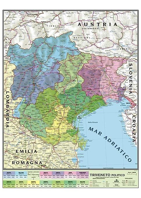 Veneto Cartina Geografica Dettagliata.Carta Geografica Murale Regionale Triveneto 100x140