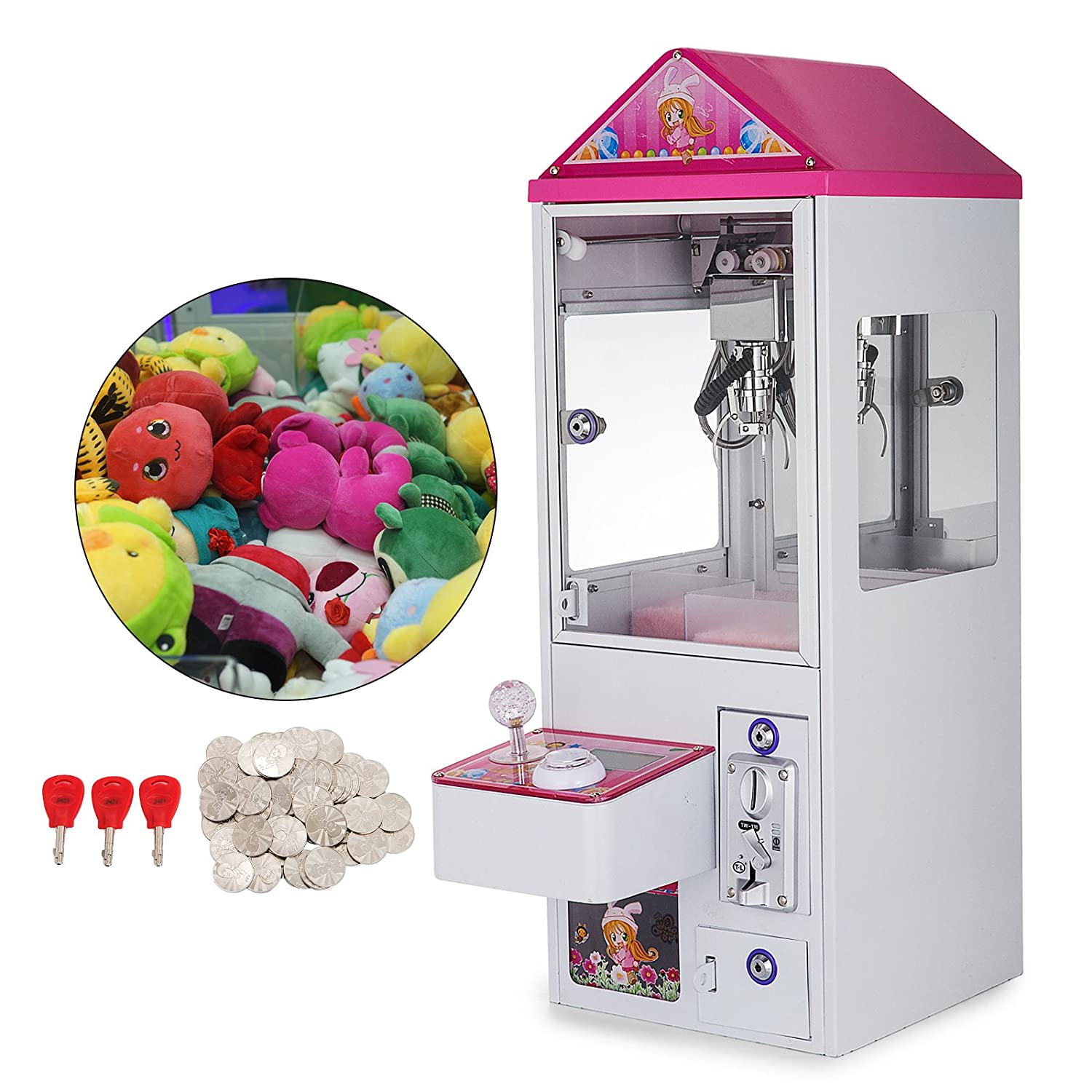 Happybuy 150W Mini Claw Crane Machine Metal Case with Led Flashing Lights  Loud Sound Effect and Coins Doll Balls Candy Toy Catcher Toy Grabber Claw