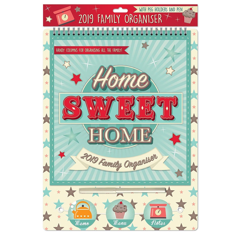 2019Familie organizer Kalender mit Knöpfen und Stift–Home Sweet Home Widdle Gifts Ltd