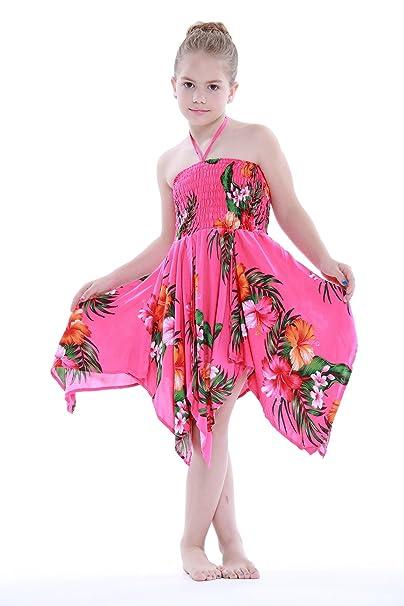 Niña gitano Botón desigual Hawaiian Luau vestido en Rosa caliente floral 4