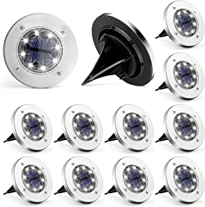 Solpex 12 Pack Solar Ground Lights Outdoor, Waterproof 8 LED Solar Powered Disk Lights Outdoor Garden Landscape Lighting for Yard Deck Lawn Patio Pathway Walkway (White)