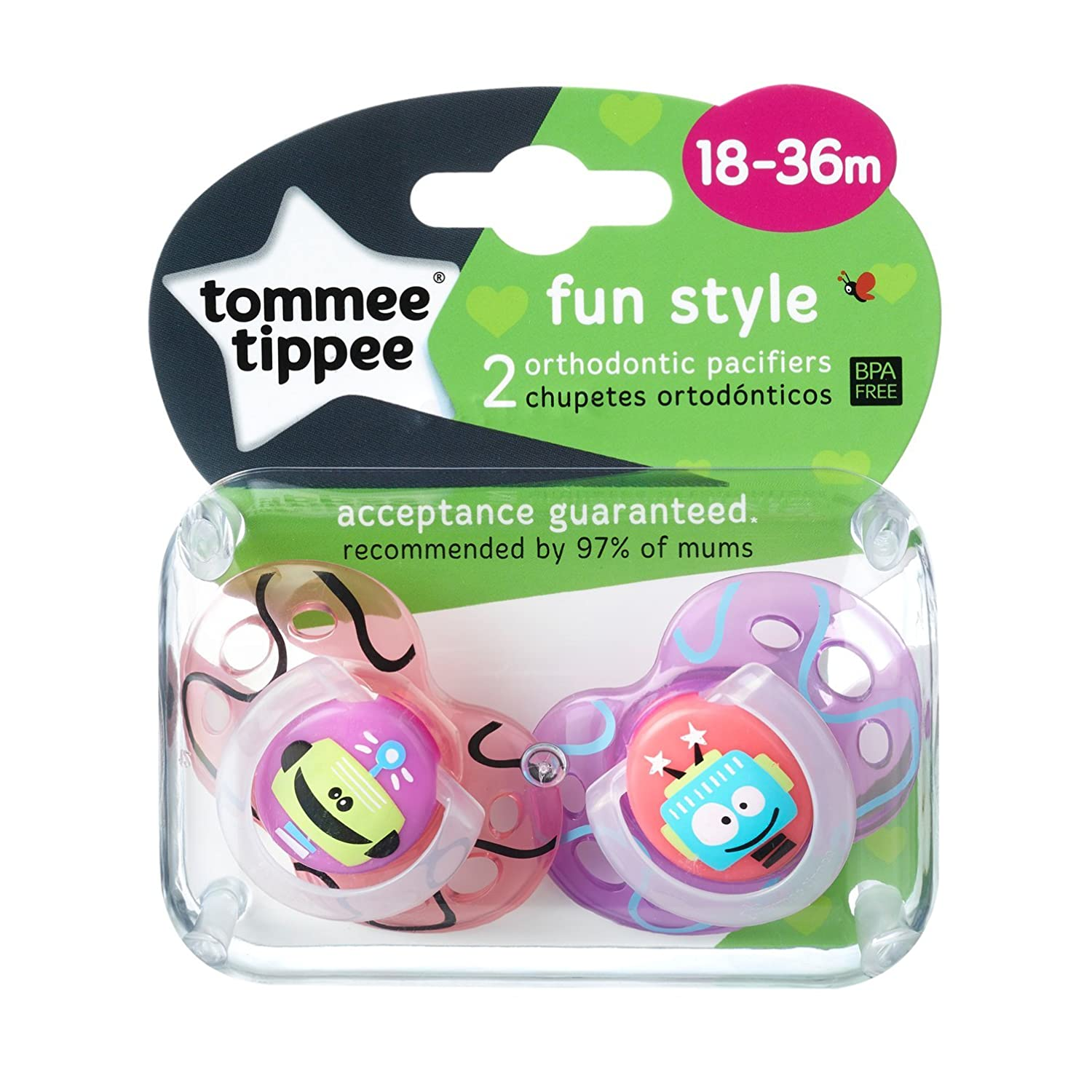 Tommee Tippee Closer to Nature Fun Style Orthodontic Toddler Soothie Pacifier, 18-36 Months -...