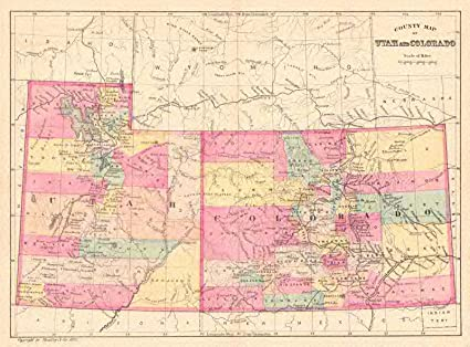 Amazon.com: Historic Map | 1881 County map of Utah and Colorado ...