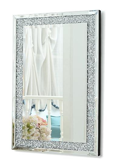 Specchi Rettangolari Da Parete.Richtop Grande Specchio Da Parete Con Triplo Rettangolo Con Diamanti Finti E Struttura Argentata Specchi Da Soggiorno 90 X 60 Cm