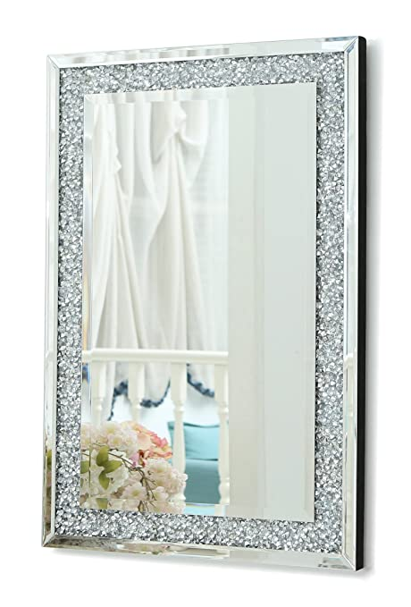 Grande specchio da parete con triplo rettangolo, con diamanti finti ...