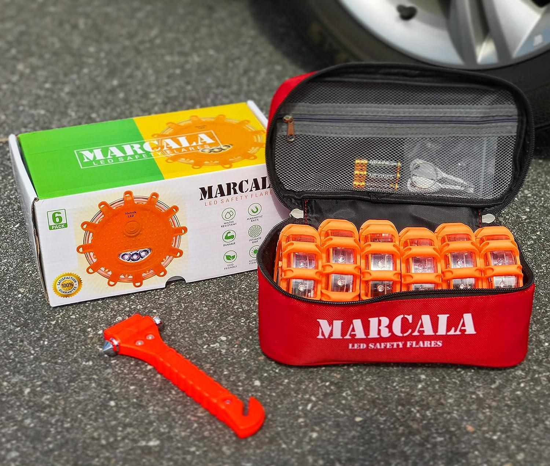 LED Road Flares 6-Pack Feel Safer on The Road! Carry-Case and 3 Bonuses Car Emergency Kit Emergency Roadside Discs DOT Compliant LED Safety Flares Kit w//Batteries Installed