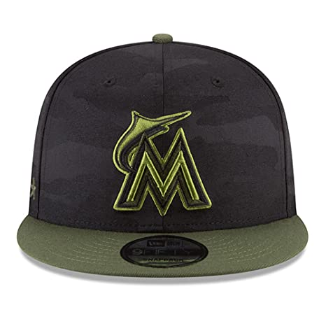 separation shoes 89269 868da Amazon.com  New Era Authentic Miami Marlins Memorial Day Salute to Service  9Fifty Snapback Hat Cap One Size  Sports   Outdoors