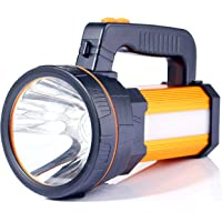 ALFLASH LED Searchlight Rechargeable Handheld Flashlight 7000 Lumens 9000mAh Torch Lantern Waterproof Searchlight Torch Light with 5 Light Model (Gold)