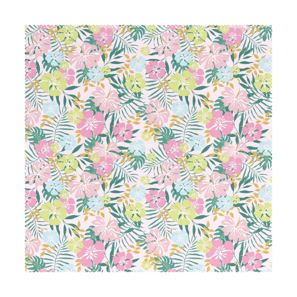 """LORVIES Hawaiian Flowers and Palms Leafes Placemats 1 Piece, Heat-Resistant Placemats Stain Resistant Washable Polyester Square Table Place Mat for Kitchen Decorative Dining Table, 12""""x12"""""""