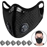Beautyshow Dust Mask Sports Mask with 6 Replaceable Carbon Filters Face Mouth Mask Protection Masks Anti Pollution for Exhaust Fumes Pollen Cycling Running Camping Travel (Black)
