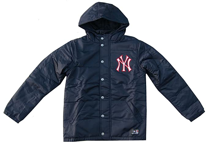 e8e62d6b8 New York Yankees Coat Boys Puffer Coat Jacket Navy Blue Hooded Majestic  8-15Y  Amazon.co.uk  Clothing