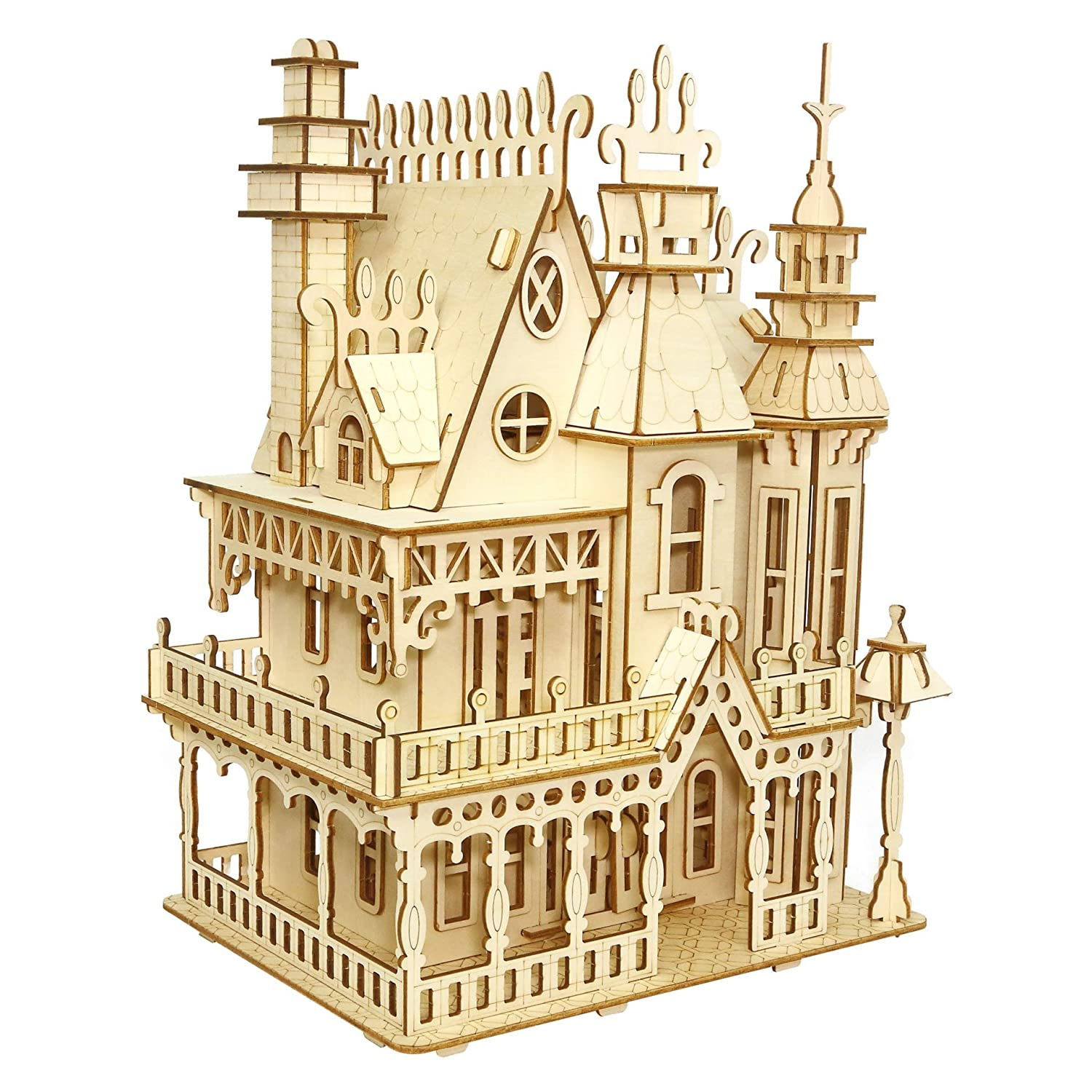 3D Puzzles Puzzles DIY House Villa, Wooden Assembly Kits 268pc Educational Toys Gifts for Kids