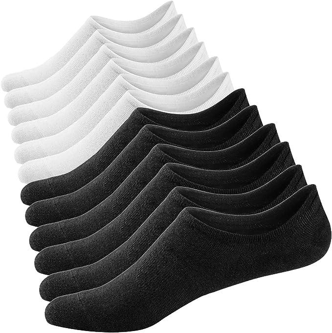 Ueither 3 o 6 Pares Calcetines Invisibles Mujer De Algodón Calcetines Cortos Elástco Con Silicona Antideslizante (36-43, Color 6): Amazon.es: Ropa y accesorios