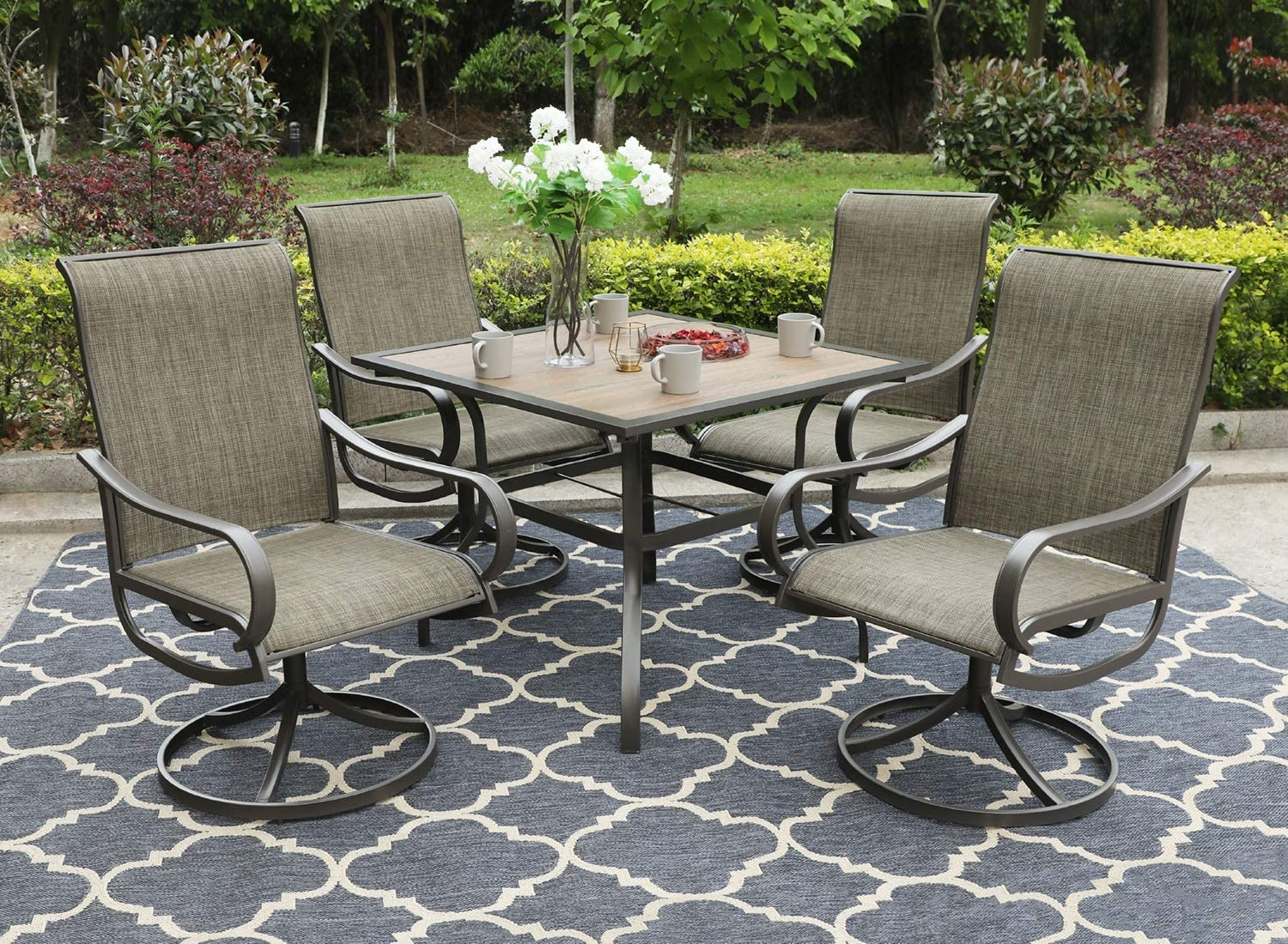 "Sophia & William Patio Dining Set, 1 Square 37""x 37"" Umbrella Table, 4 Swivel Chairs Furniture Set for Outdoor Garden Lawn Pool Metal Frame Easy to Care Weather Resistant: Garden & Outdoor"
