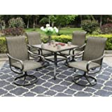 """Sophia & William Patio Dining Set, 1 Square 37""""x 37"""" Umbrella Table, 4 Swivel Chairs Furniture Set for Outdoor Garden Lawn Pool Metal Frame Easy to Care Weather Resistant"""