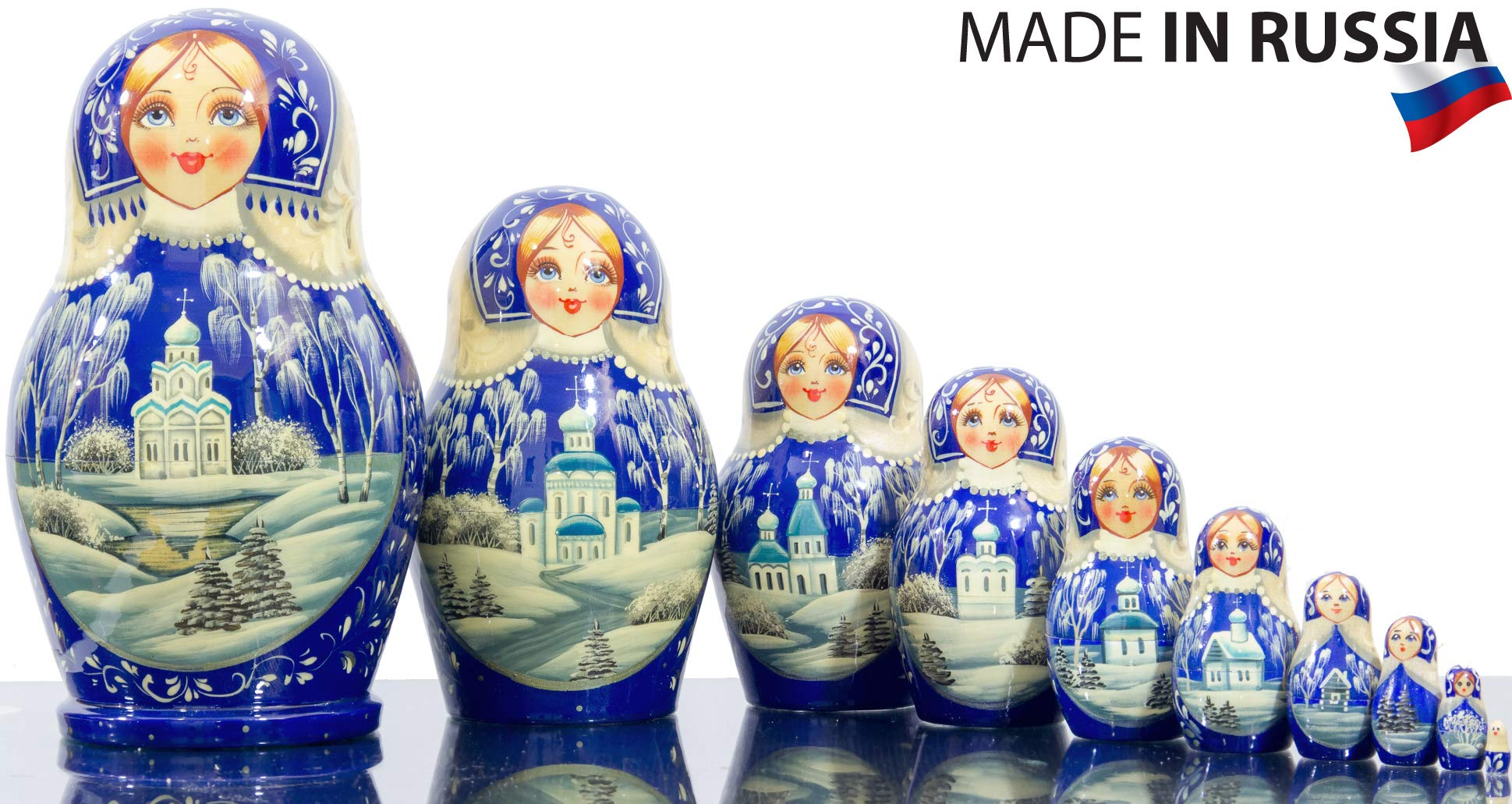 Russian Nesting Doll - Kirov - VJATKA - Hand Painted in Russia - Big Size - Wooden Decoration Gift Doll - Matryoshka Babushka (Style E, 8.25``(10 Dolls in 1)) by craftsfromrussia (Image #1)