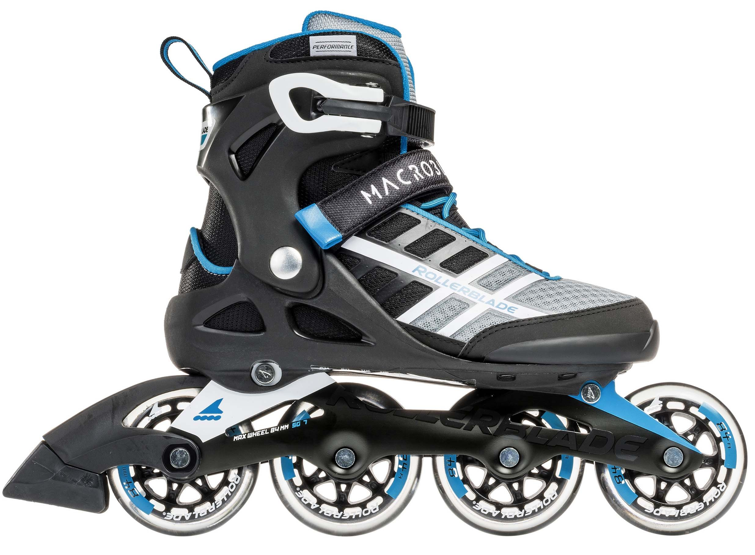 Rollerblade Macroblade 84 Womens Adult Fitness Inline Skate - White/Cyan Blue - 84 mm / 84A Wheels with SG7 Bearings - Performance Skates -US size 9.5, White/Cyan Blue, Size 9.5
