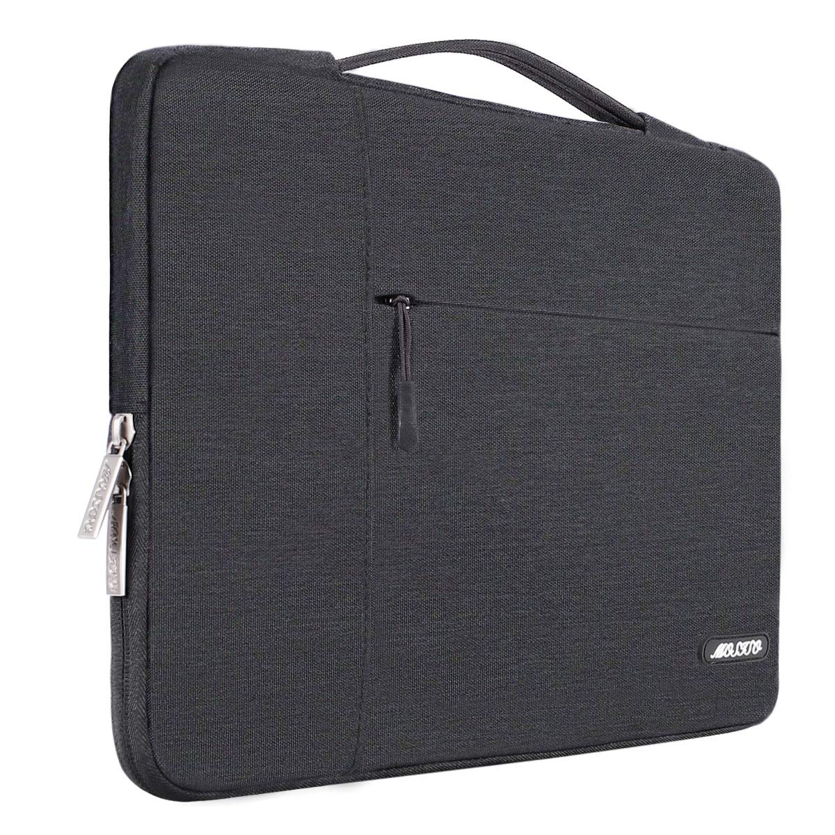 MOSISO Laptop Briefcase Handbag Compatible 13-13.3 Inch MacBook Air, MacBook Pro, Notebook Computer, Polyester Multifunctional Carrying Sleeve Case Cover Bag, Space Gray