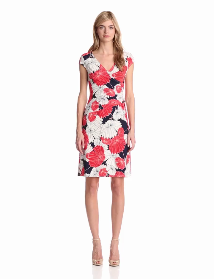 Evan Picone Womens Floral Print Dress, Ginger Combo, 14