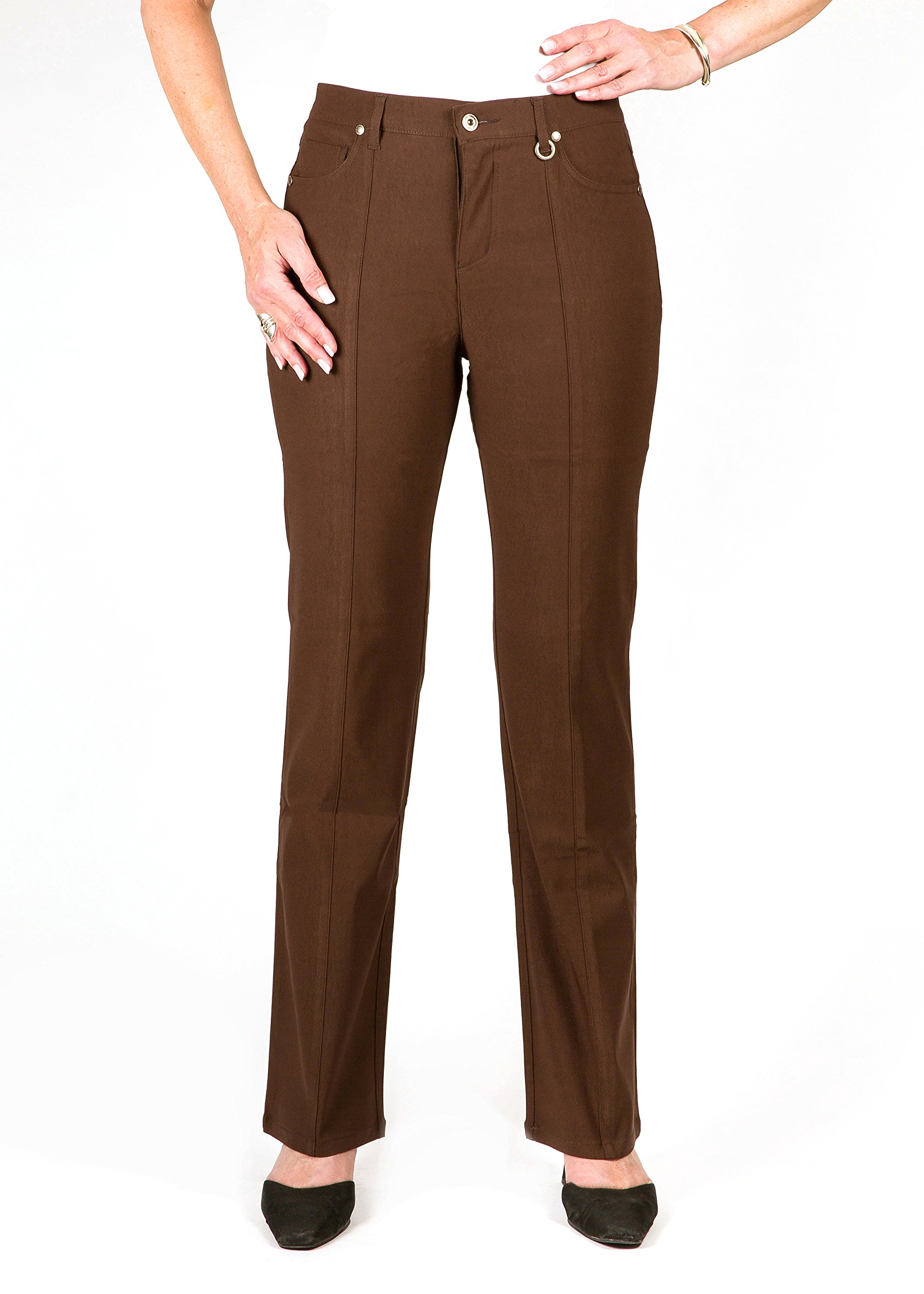 *Petite* Simon Chang 5 Pocket Straight Leg Microtwill Pant Style#3-5302P (4 PT, Brown) by Simon Chang