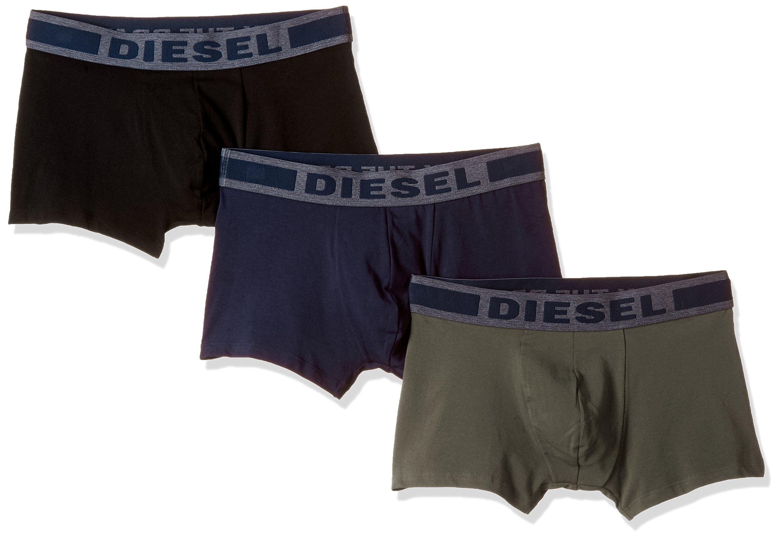 Diesel Men's UMBX-Shawnthreepack Touch of Denim Boxer 3pack, Black/Green/Blue, L