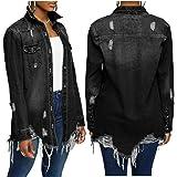 Women Denim Jacket Long Sleeve Lapel Button Down Ripped Jeans Jacket Coat Plus Size