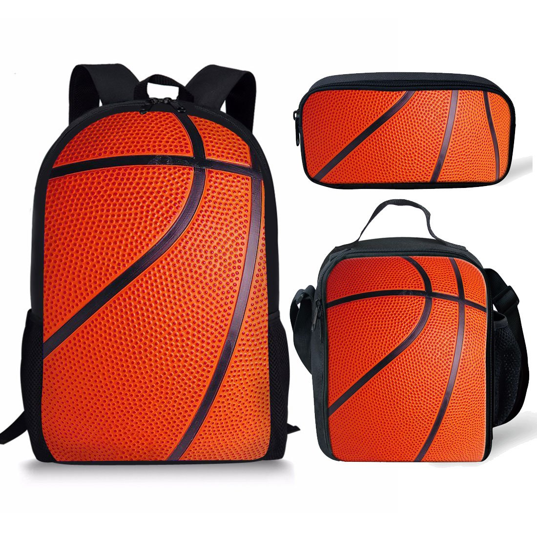 Showudesigns 17inch Schoolbag Backpack + Lunch Box + Pencil Case Pen Bag for Children Basketball