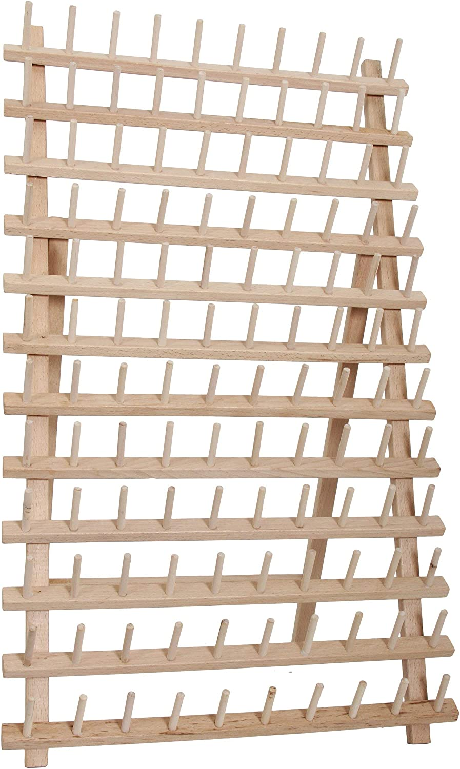 Threadart 120 Spool Cone Wood Thread Rack   Made of Hardwood, Sturdy, Freestanding or Wall Mount   Fits Mini-King Size Cones & Most Spools   For Sewing, Embroidery, Quilting, & Specialty Thread Storage