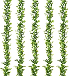 Artiflr 5 Strands Artificial Vines Faux Eucalyptus Garland, Fake Eucalyptus Greenery Garland Wedding Backdrop Arch Wall Decor, 6 Feet/pcs Fake Hanging Plant for Festival Party Table Decorations