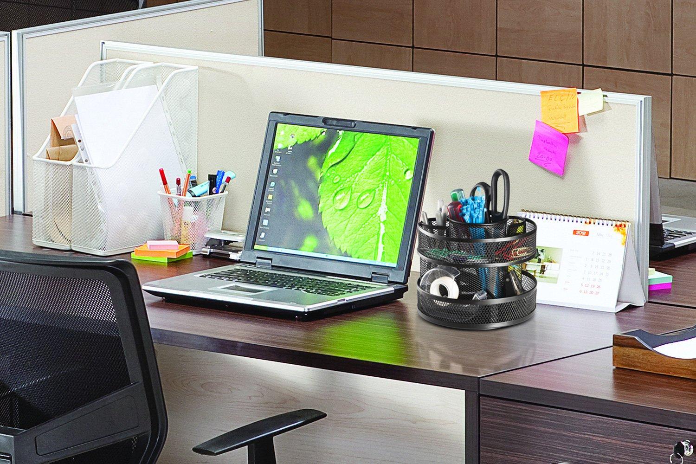 Rotating Pencil Holder Halter Steel Mesh Spinning Desk Sorter Black